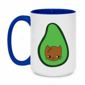 Kubek dwukolorowy 450ml Cat in avocado
