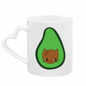 Kubek z uchwytem w kształcie serca Cat in avocado