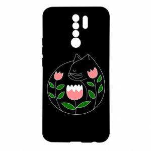 Etui na Xiaomi Redmi 9 Cat in flowers