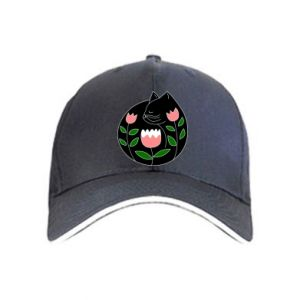 Cap Cat in flowers - PrintSalon