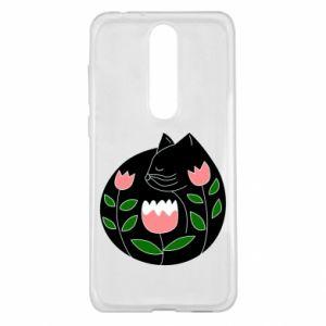 Etui na Nokia 5.1 Plus Cat in flowers