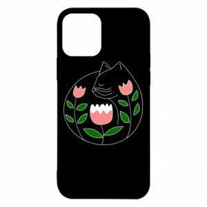 Etui na iPhone 12/12 Pro Cat in flowers