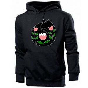 Men's hoodie Cat in flowers - PrintSalon