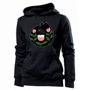 Women's hoodies Cat in flowers - PrintSalon