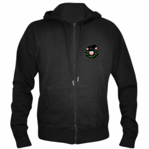 Men's zip up hoodie Cat in flowers - PrintSalon