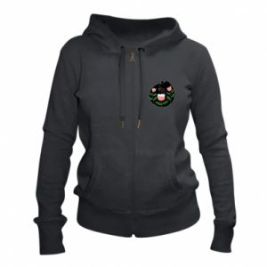 Women's zip up hoodies Cat in flowers - PrintSalon