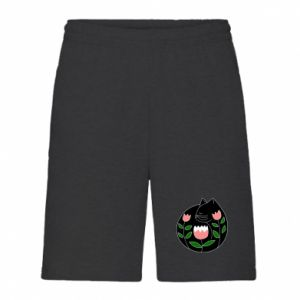 Men's shorts Cat in flowers - PrintSalon