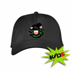 Kids' cap Cat in flowers - PrintSalon