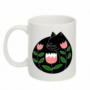 Mug 330ml Cat in flowers - PrintSalon