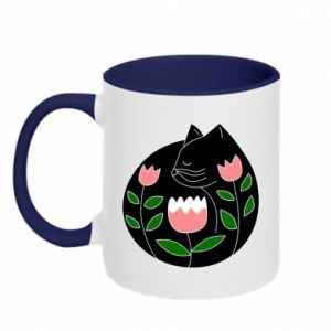 Two-toned mug Cat in flowers - PrintSalon