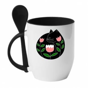Mug with ceramic spoon Cat in flowers - PrintSalon