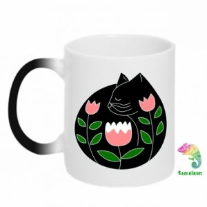 Chameleon mugs Cat in flowers - PrintSalon