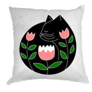 Pillow Cat in flowers - PrintSalon