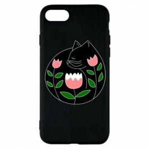 Etui na iPhone 8 Cat in flowers