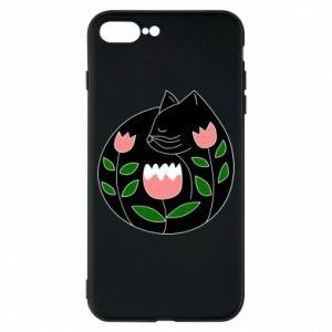 Etui na iPhone 8 Plus Cat in flowers