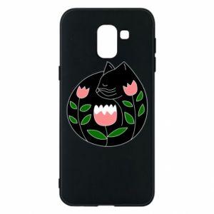 Etui na Samsung J6 Cat in flowers