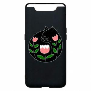 Etui na Samsung A80 Cat in flowers