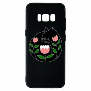 Etui na Samsung S8 Cat in flowers