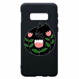 Etui na Samsung S10e Cat in flowers