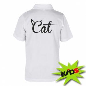 Dziecięca koszulka polo Cat inscription with ears