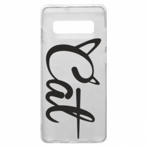 Etui na Samsung S10+ Cat inscription with ears