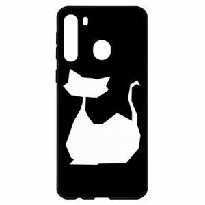 Etui na Samsung A21 Cat lies graphics