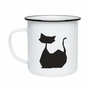 Kubek emaliowany Cat lies graphics