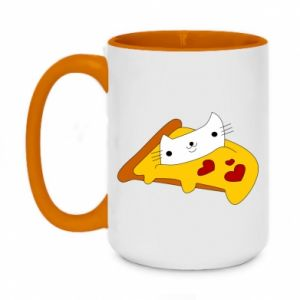 Two-toned mug 450ml Cat - Pizza