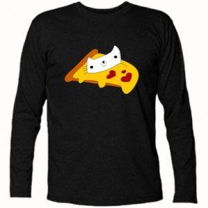 Koszulka z długim rękawem Cat - Pizza - PrintSalon