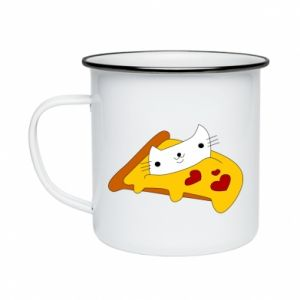 Enameled mug Cat - Pizza