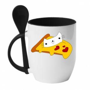 Kubek z ceramiczną łyżeczką Cat - Pizza - PrintSalon