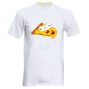 Men's sports t-shirt Cat - Pizza