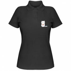 Women's Polo shirt Cat with a big heart