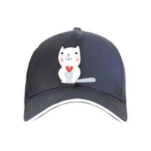 Cap Cat with a big heart
