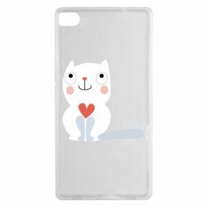 Etui na Huawei P8 Cat with a big heart