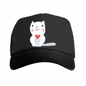Trucker hat Cat with a big heart
