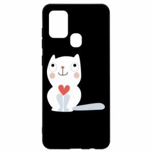 Etui na Samsung A21s Cat with a big heart