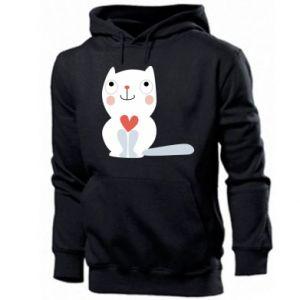 Men's hoodie Cat with a big heart