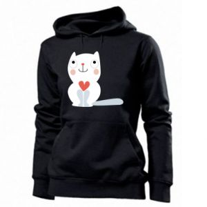 Women's hoodies Cat with a big heart