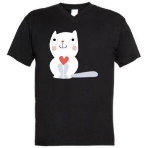 Męska koszulka V-neck Cat with a big heart