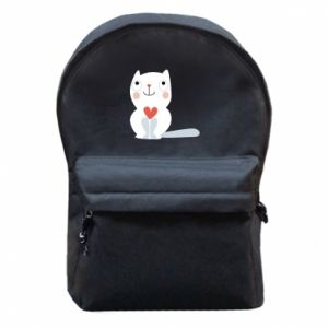 Backpack with front pocket Cat with a big heart - PrintSalon