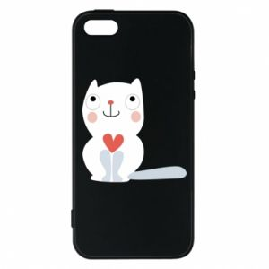 Phone case for iPhone 5/5S/SE Cat with a big heart - PrintSalon