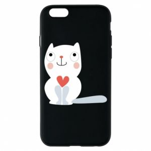 Phone case for iPhone 6/6S Cat with a big heart - PrintSalon