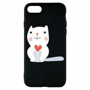Phone case for iPhone 7 Cat with a big heart - PrintSalon