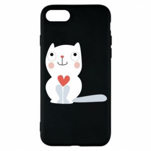 Phone case for iPhone 8 Cat with a big heart - PrintSalon