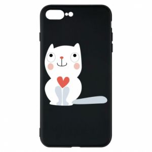 Phone case for iPhone 8 Plus Cat with a big heart - PrintSalon