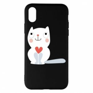Phone case for iPhone X/Xs Cat with a big heart - PrintSalon