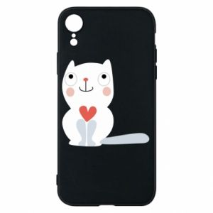 Phone case for iPhone XR Cat with a big heart - PrintSalon