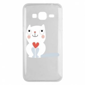 Phone case for Samsung J3 2016 Cat with a big heart - PrintSalon