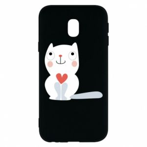 Phone case for Samsung J3 2017 Cat with a big heart - PrintSalon